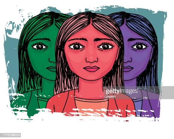ilustraciones, imágenes clip art, dibujos animados e iconos de stock de retrato de espectro de la mujer - autismo