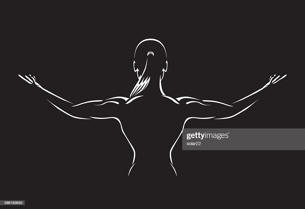 Woman spreading out arms for show back muscles