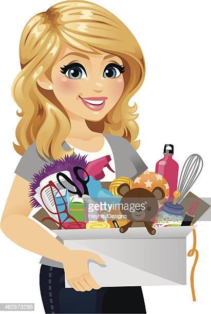 ilustrações de stock, clip art, desenhos animados e ícones de mulher de limpeza de primavera - loira