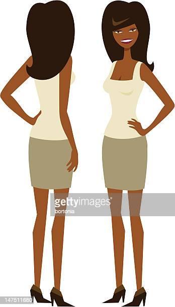 ilustrações, clipart, desenhos animados e ícones de mulher em pé a 2 vistas - mão no quadril