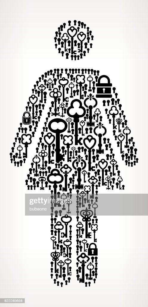 Woman Standing Antique Keys Black and White Vector Pattern : stock illustration