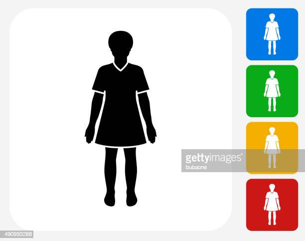 Woman Standing Icon Flat Graphic Design