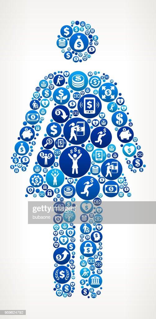 Frau stehend Geld blaues Symbol Muster Hintergrund : Stock-Illustration