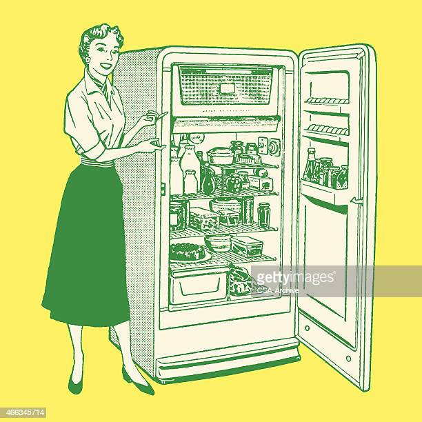 woman standing next to fridge - next stock illustrations
