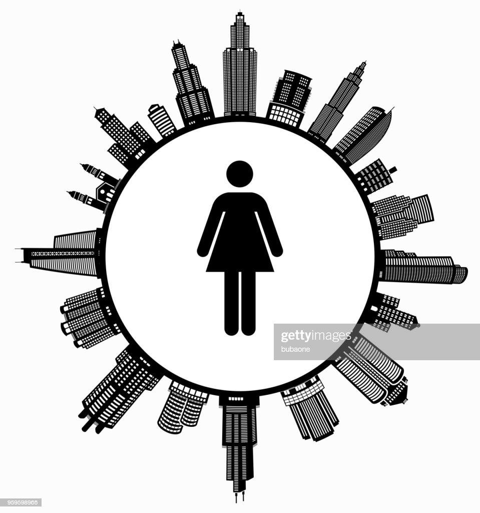 Frau, die auf modernen Stadtbild Skyline Hintergrund : Stock-Illustration