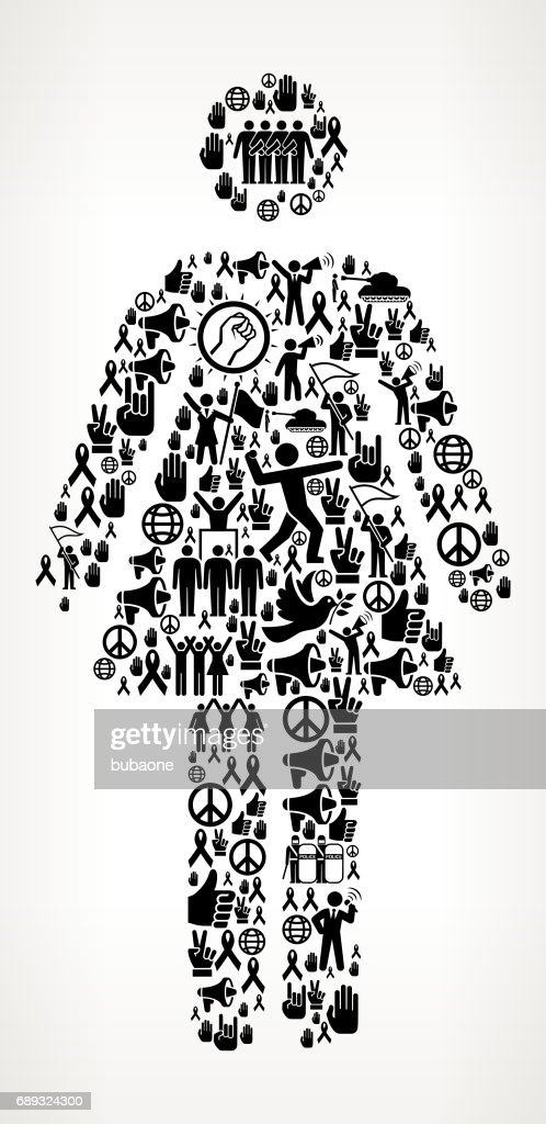 Woman Standing Protest and Civil Rights Vector Icon Background : Stock Illustration