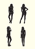 Woman standing silhouette set