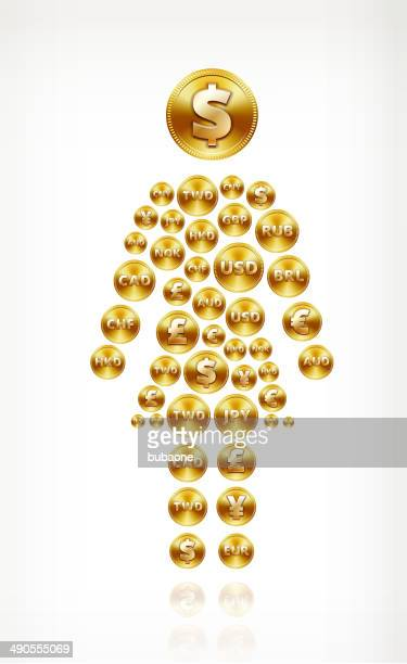 woman stick figure, on gold coin buttons - fiscal year stock illustrations