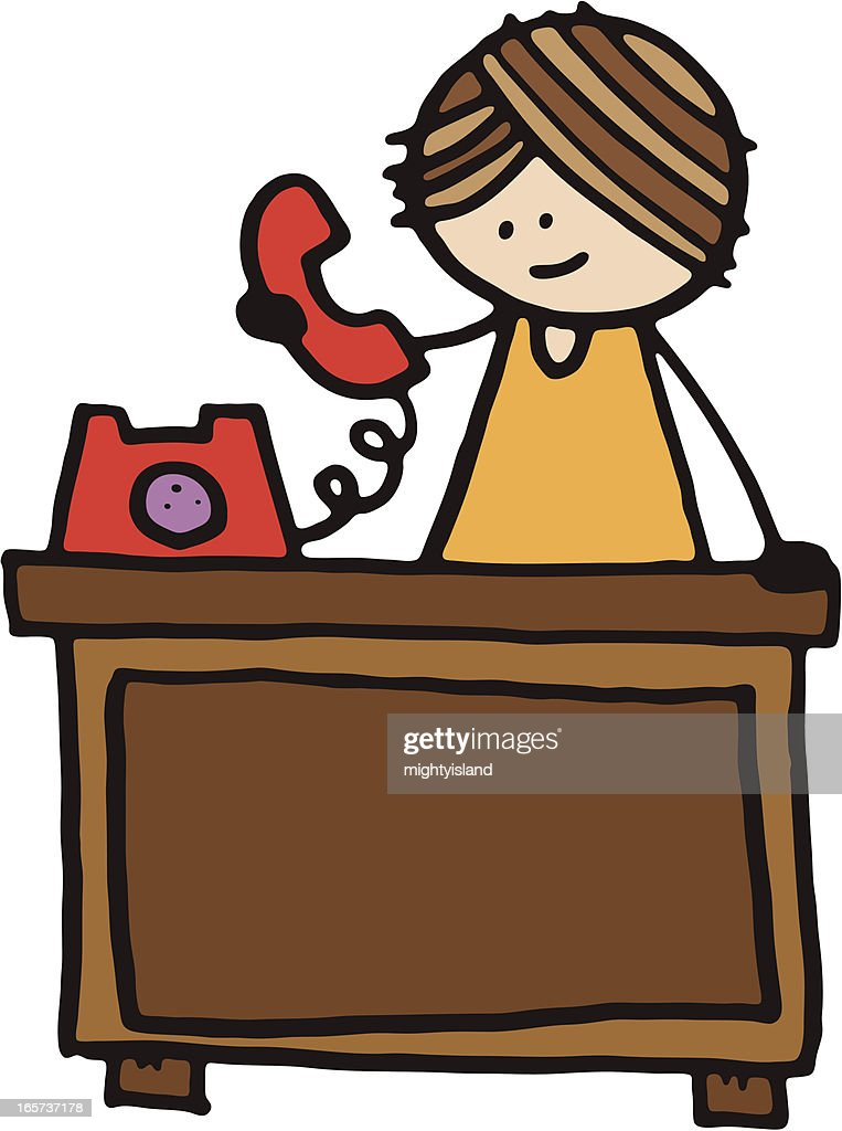 Woman stood at desk on phone : stock vector