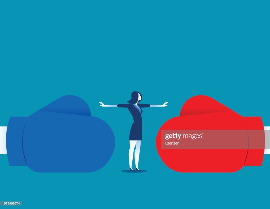 Woman stop conflict or stop fighting. Concept business illustration. Vector abstract and character.
