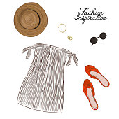 Woman summer outlook: dress with bows, hat, shoes and accessories decoration.  Modern cloth design. Hand drawn vector sketch .