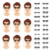 Woman sunglasses shapes for different women face types. Vector illustration.