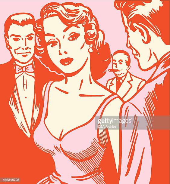 Woman Surrounded by Men