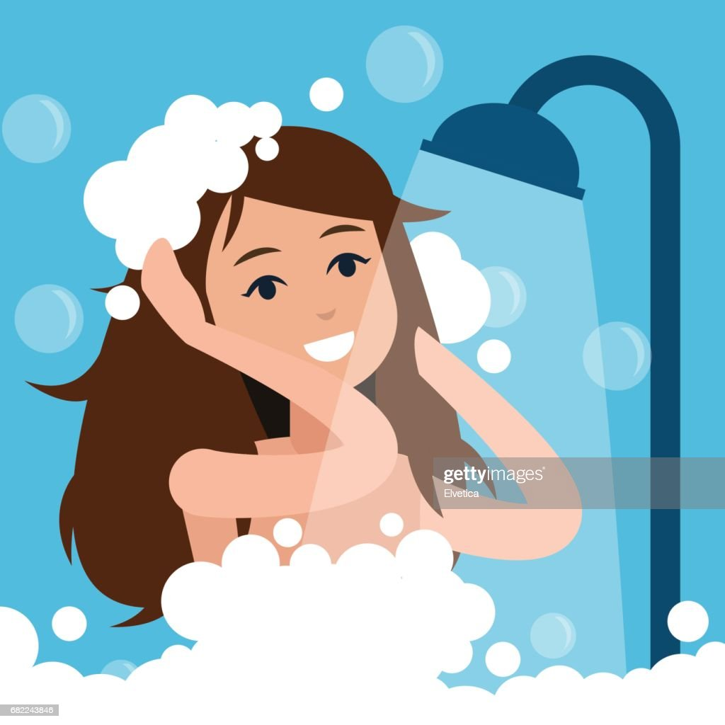 Woman takes a shower.