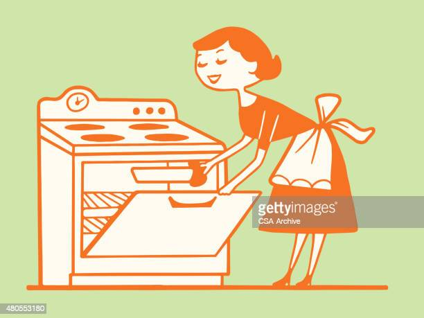woman taking food out of the oven - baked stock illustrations, clip art, cartoons, & icons