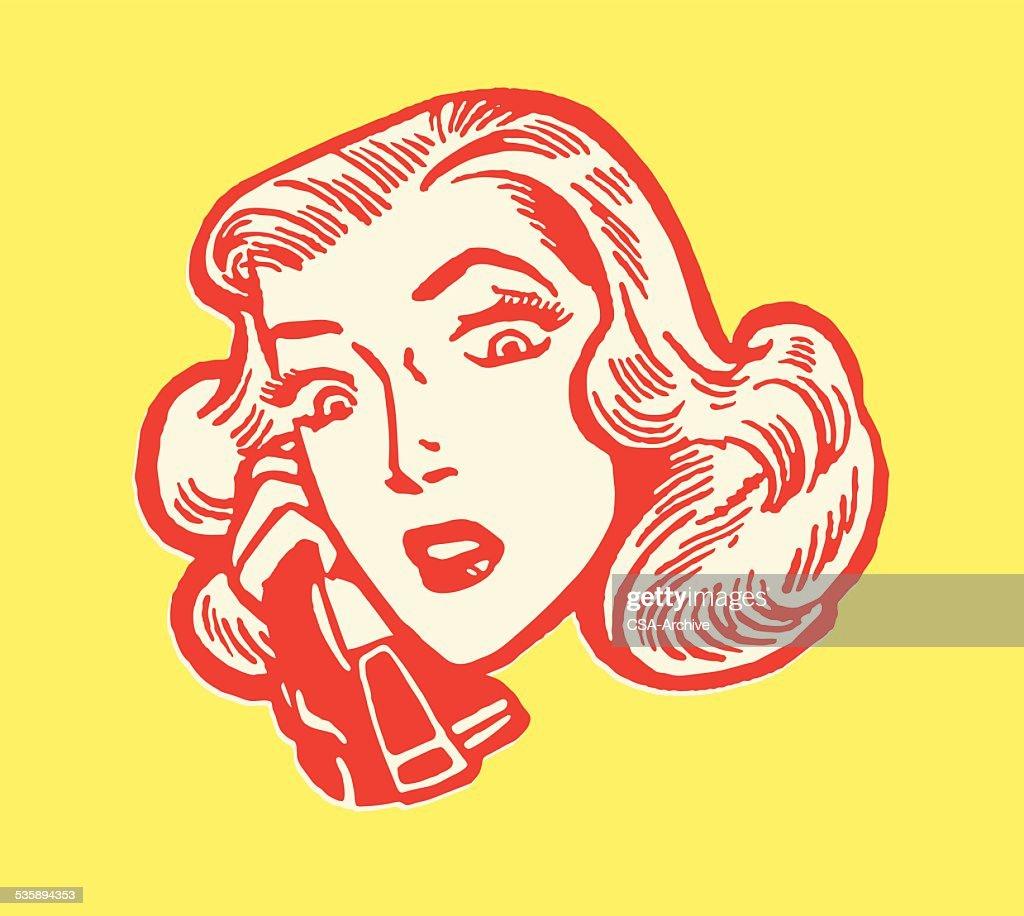 Woman Talking on the Telephone : Vectorkunst