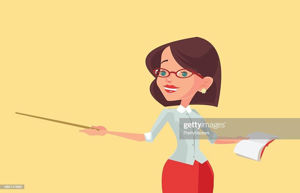 Woman teacher character with pointer. Vector flat cartoon illustration