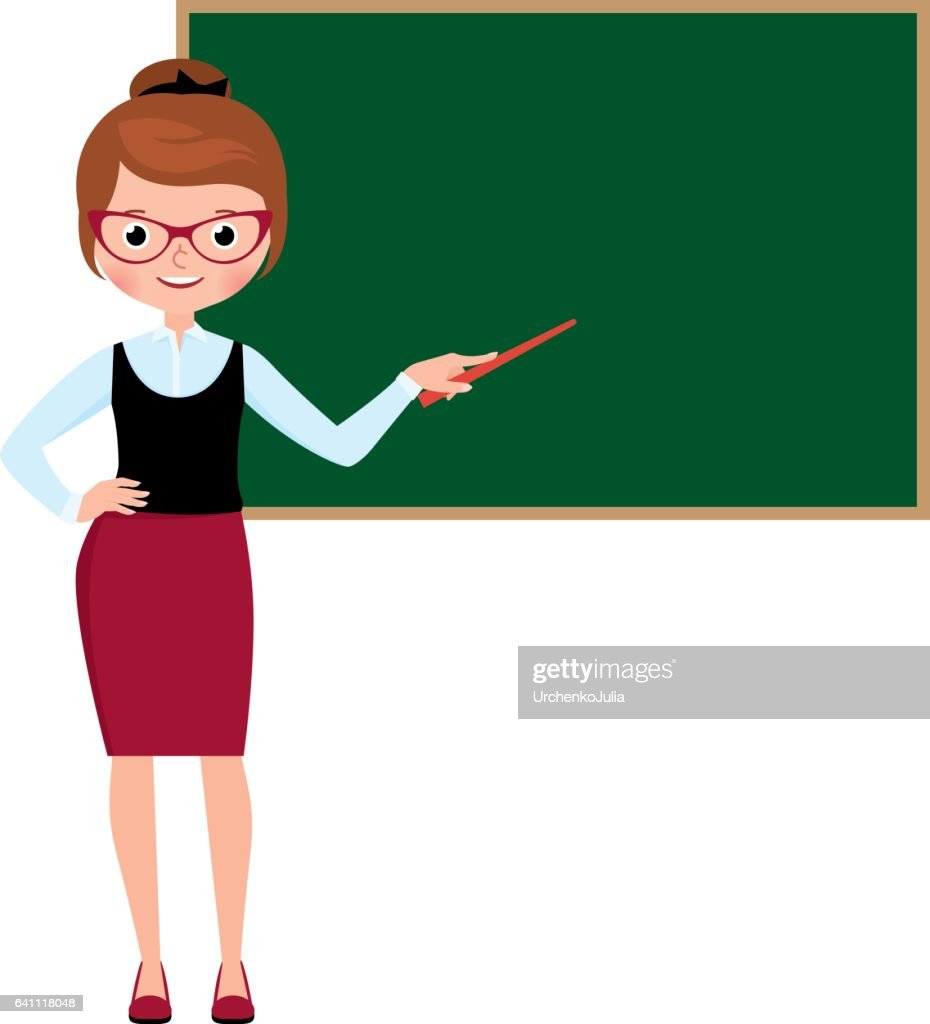 Woman teacher in full length standing at the school blackboard and holding a pointer