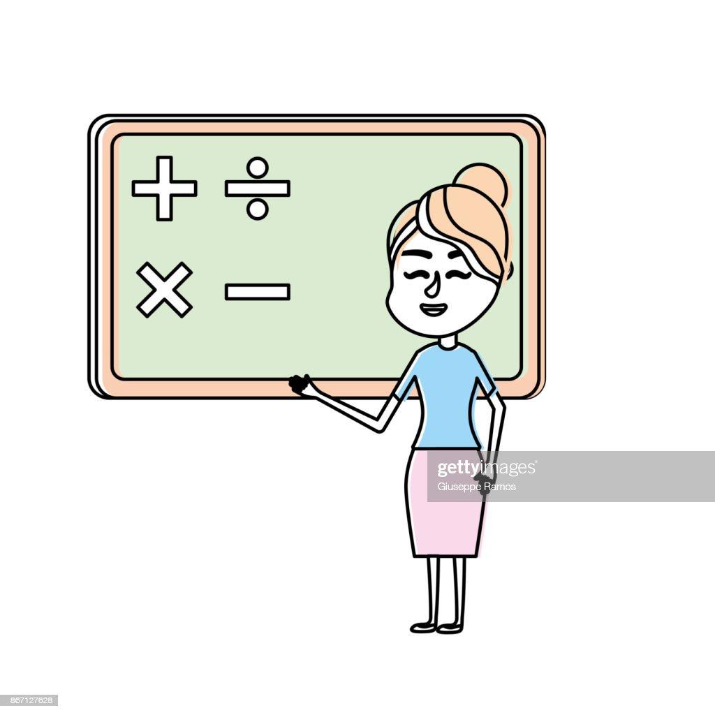 woman teacher teaching to the student in the blackboard