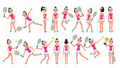Woman Tennis Player Vector. Playing With The Ball. Different Poses. In Action. Flat Cartoon Illustration