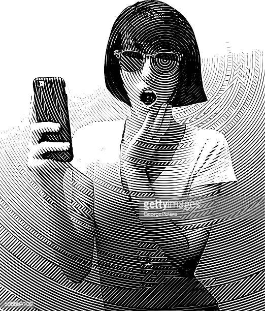 Woman Texting on Smart Phone with Surprised Expression