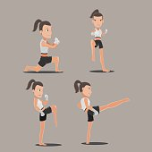 Woman Thai Boxing Action Set Vector