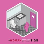 woman toilet sign in restroom isometric