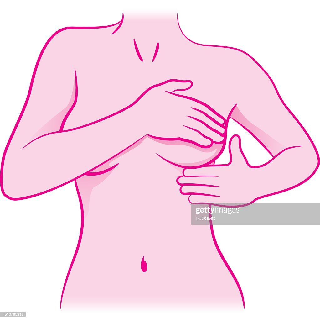 woman touching her breasts doing self-examination for breast cancer