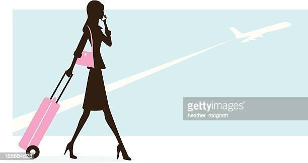 ilustraciones, imágenes clip art, dibujos animados e iconos de stock de mujer que viaja - maleta