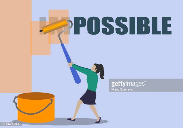 woman turning the word impossible into possible. - confidence stock illustrations