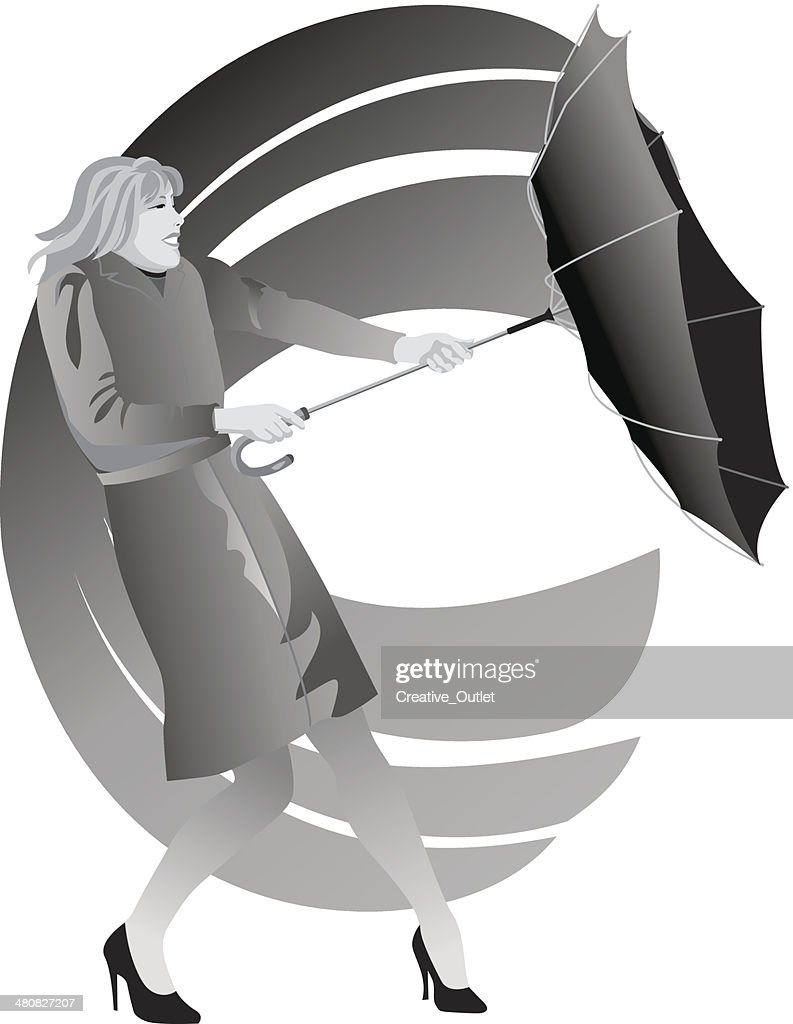 Woman Umbrella Wind