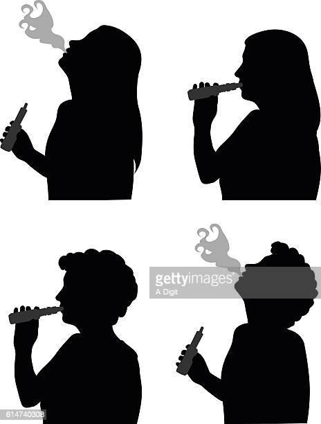 woman using a vaporizer - inhaling stock illustrations