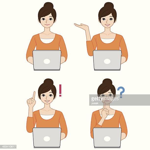 woman using computer - waist up stock illustrations, clip art, cartoons, & icons
