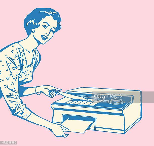 Woman Using Fax