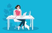Woman using laptop flat vector illustration