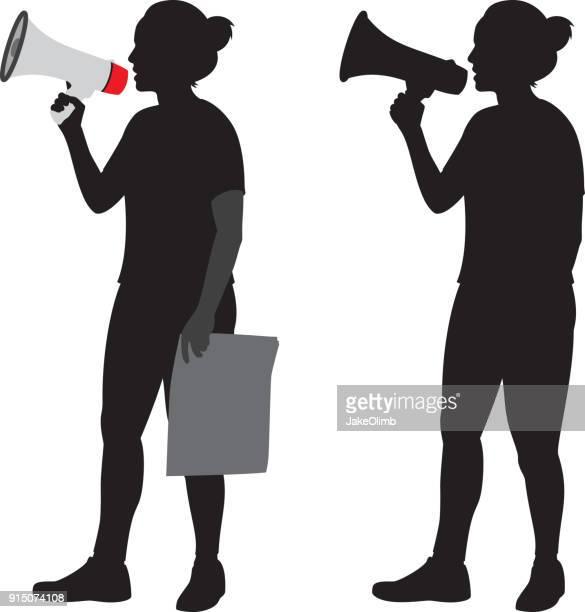 woman using megaphone silhouette - protestor stock illustrations, clip art, cartoons, & icons
