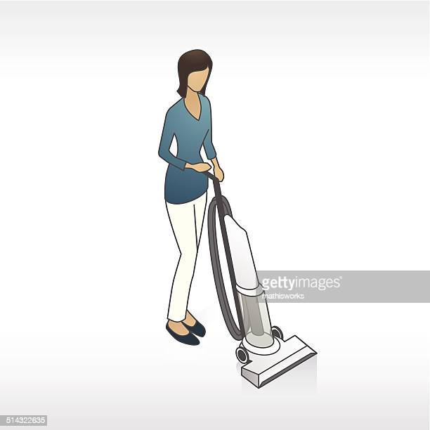 woman vacuuming illustration - mathisworks stock illustrations
