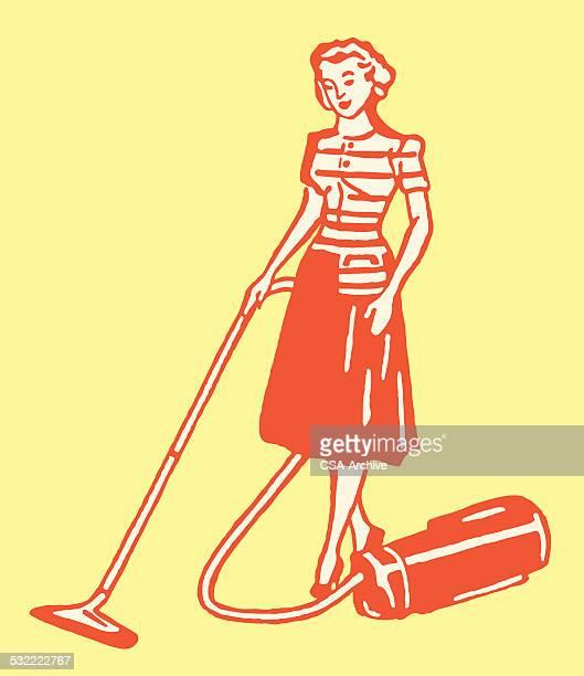 woman vacuuming - vacuum cleaner stock illustrations, clip art, cartoons, & icons