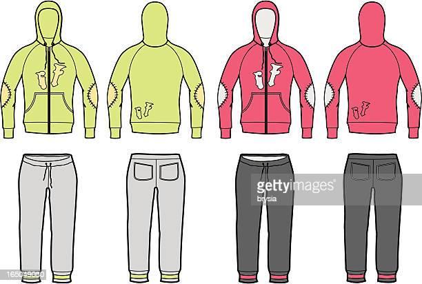 woman velur tracksuit- vector - trousers stock illustrations