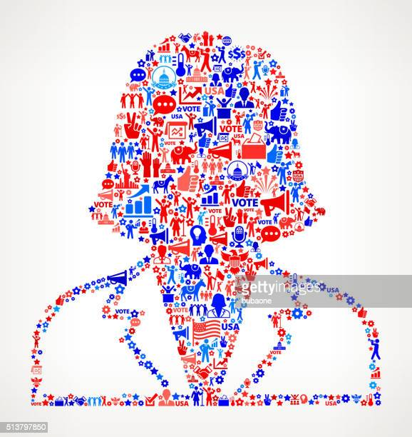 Woman Vote and Elections USA Patriotic Icon Pattern