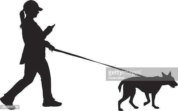 woman walking her dog - dog leash stock illustrations, clip art, cartoons, & icons
