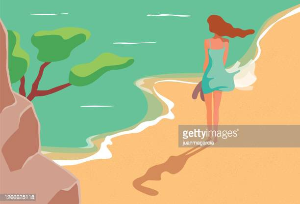 woman walking on the beach - water's edge stock illustrations
