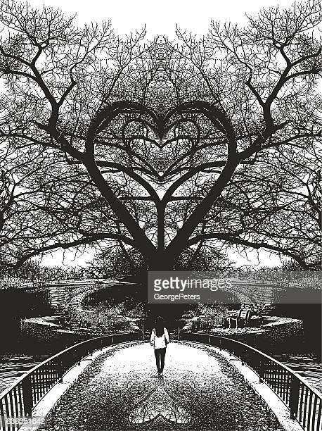 Woman walking toward heart shaped tree and romance