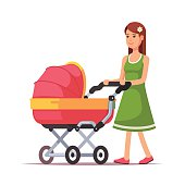 Woman walking with her child in a pink pram