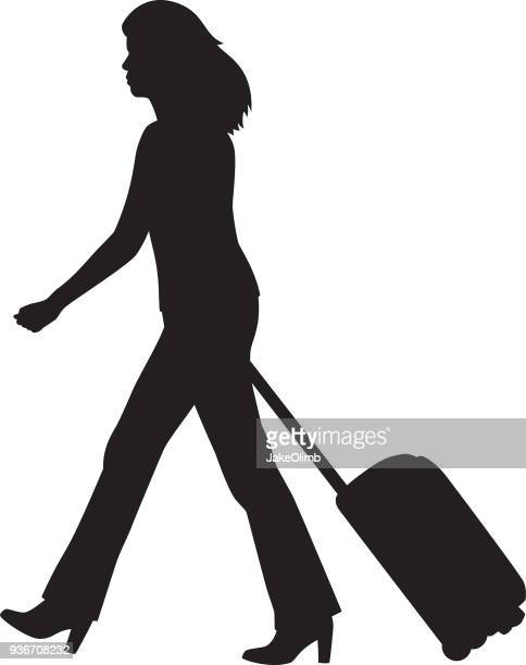 woman walking with suitcase silhouette - disembarking stock illustrations