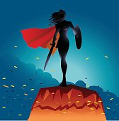 Woman Warrior Superhero Silhouette with Fire Sparks