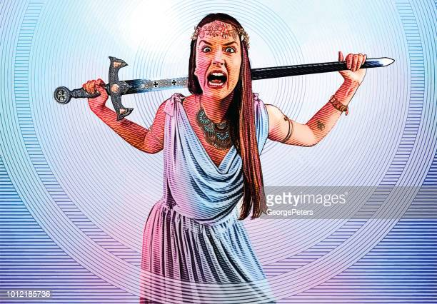 woman warrior superhero with sword - agression stock illustrations, clip art, cartoons, & icons