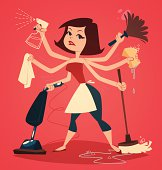 Woman washing and cleaning. Household series vector illustration.