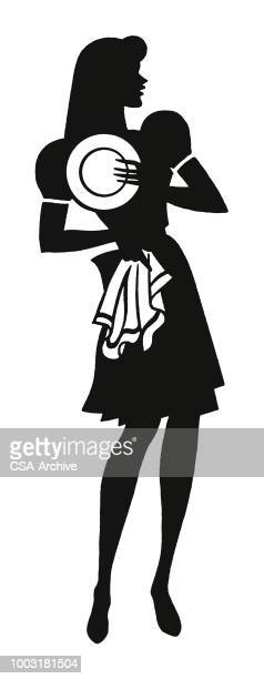 woman washing dishes - washing dishes stock illustrations, clip art, cartoons, & icons