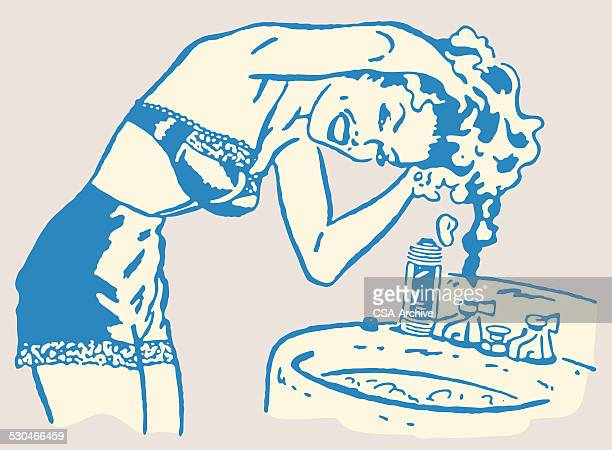 woman washing hair in sink - bra stock illustrations, clip art, cartoons, & icons